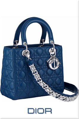 ♦Dior Lady Dior poseidon blue top handle lambskin bag with strass bejeweled shoulder strap and iconic silver Dior charms #dior #bags #ladydior #brilliantluxury