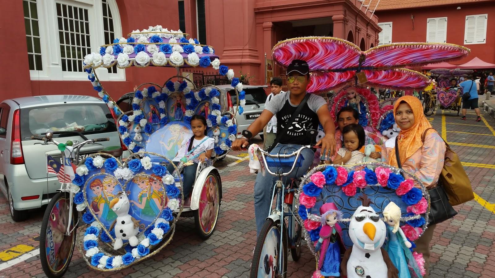 Becak Hias di Melaka, Malaysia