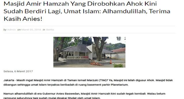 Ahok Kembali Difitnah, Dituduh Menggusur Masjid Amir Hamzah