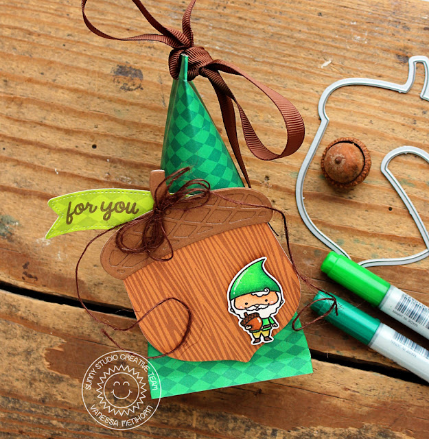 Sunny Studio Stamps: Nutty For You Home Sweet Gnome Treat Container by Vanessa Menhorn