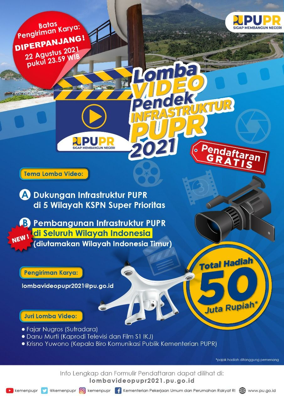 [GRATIS] Lomba Video Infrastruktur 2021 di Kementerian PUPR