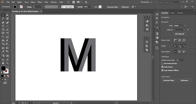 3D letter in Adobe Illustrator