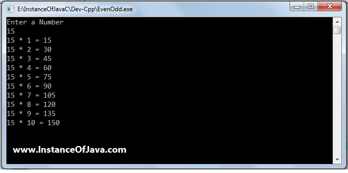 Java Program to Print Table of Number