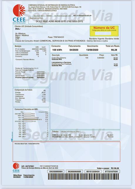 A foto mostra uma fatura da conta oficial de energia elétrica da Companhia Estadual de Energia Elétrica (CEEE) será privatizada em breve.