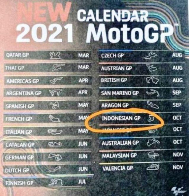 Jadwal MotoGP 2021 Beredar, MotoGP Indonesia di Sirkuit Mandalika Oktober
