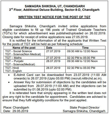 image : Chandigarh TGT Exam Schedule 2019 @ TeachMatters