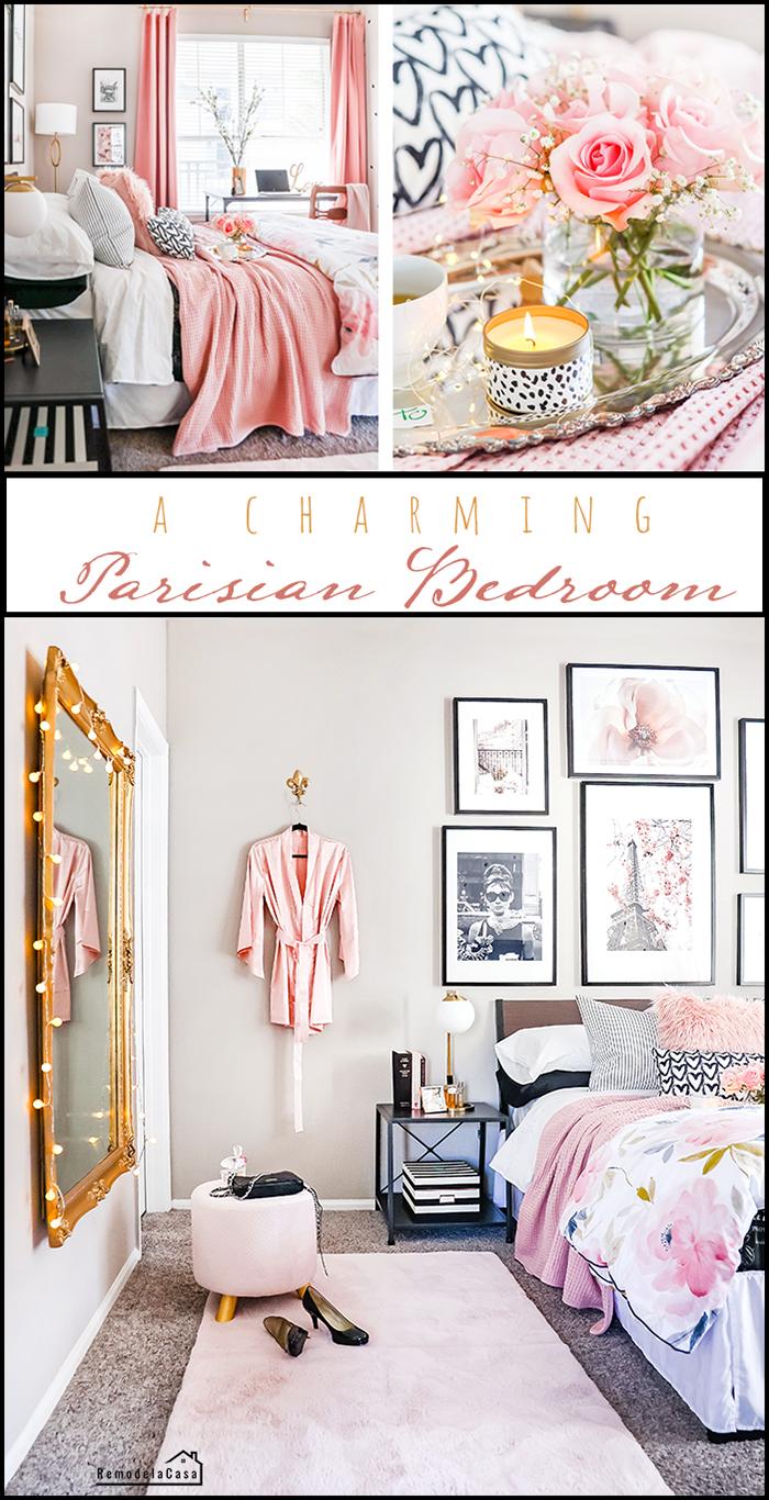 A renter's bedroom is transform into a Parisian retreat
