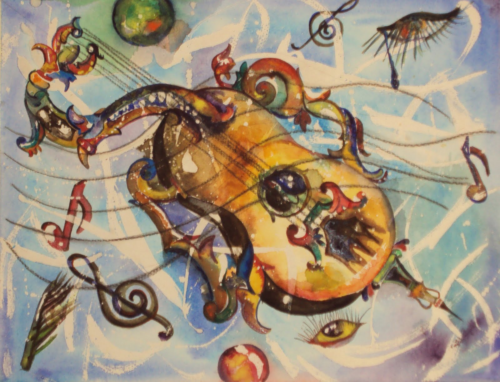 pintura surrealista de violin