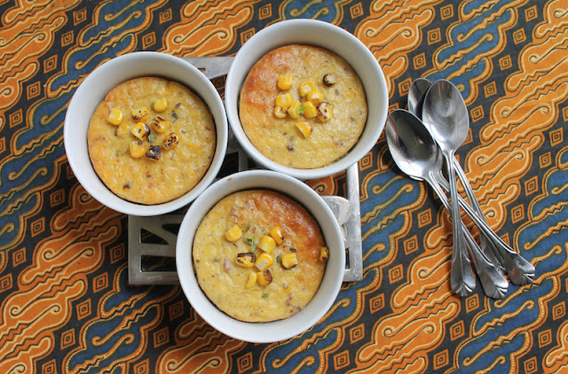 Food Lust People Love: These individual bacon corn puddings are made with roasted corn and cornmeal to add a lot of extra corn flavor, along with the bacon and thyme. Delicious and light as a side dish or main.