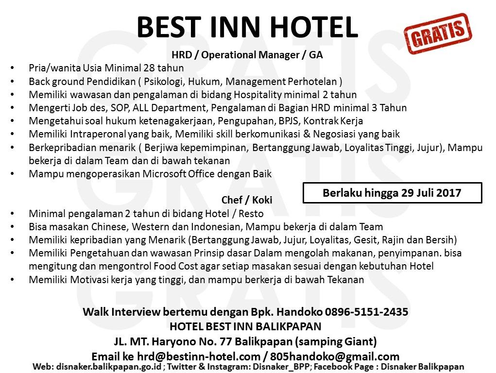 Lowongan Kerja Kota Balikpapan  Lowongan Best Inn Hotel