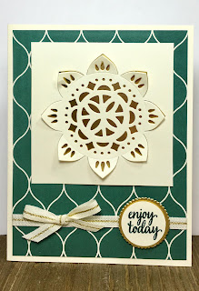 This card uses Stampin' Up!'s Eastern Beauty stamp set, Eastern Medallions Thinklits, Eastern Palace designer paper, Gold Natural Trim, and Gold Foil Paper.  #stamptherapist #stampinup #handmadeby www.stamptherapist.com