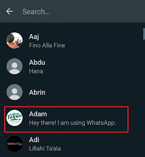 find the whatsapp contact