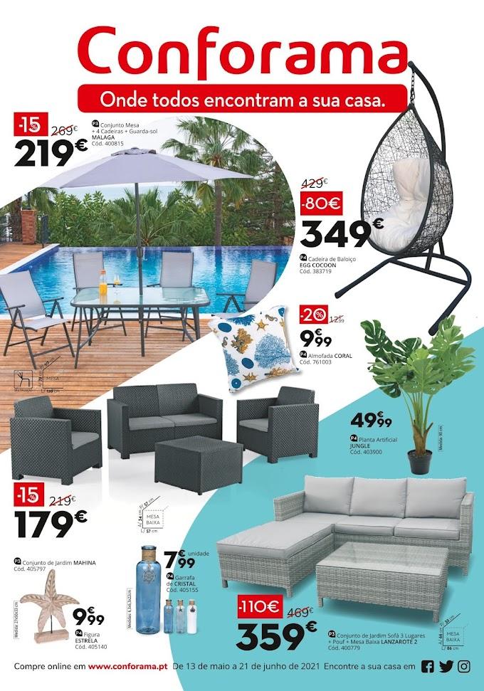 """Folheto CONFORAMA - """"Onde Todos Encontram a Sua Casa-Móveis de Exterior com até 30% desconto"""" até 21 de junho"""