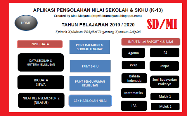 Aplikasi Pengolahan Nilai Kelulusan SD dan SKHU SD Kurikulum  APLIKASI PENGOLAHAN NILAI KELULUSAN SD TAHUN 2020 (APLIKASI SKHU SD TAHUN 2020) KURIKULUM 2013