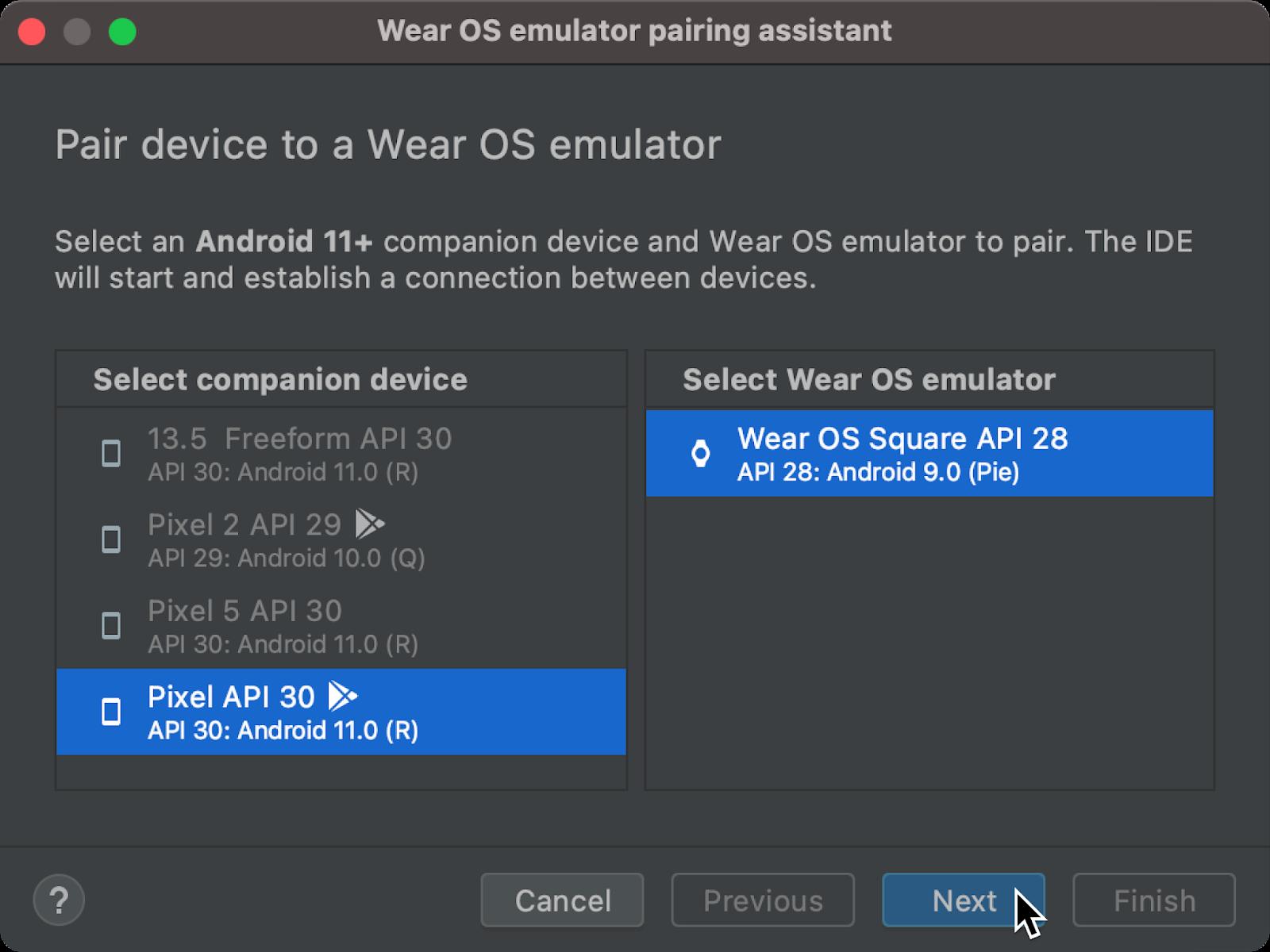 Wear OS emulator pairing assistant dialog