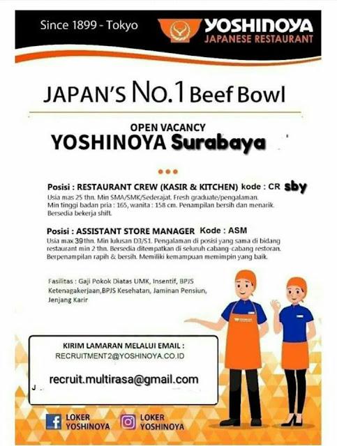 lowongan kerja crew restaurant yoshinoya surabaya