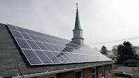 Solar panels are seen on the roof of St. Mark Lutheran Church, in Trenton, NJ in 2007. (Credit: AP Photo/Mel Evans) Click to Enlarge.
