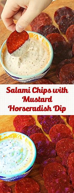Salami Chips with Mustard Horseradish Dip