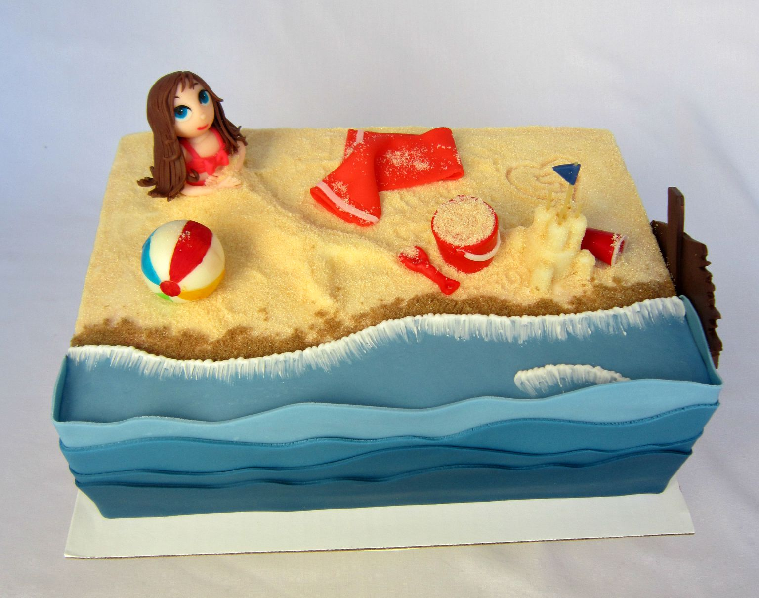 Delectable Cakes Little Girl Beach Party Birthday Cake