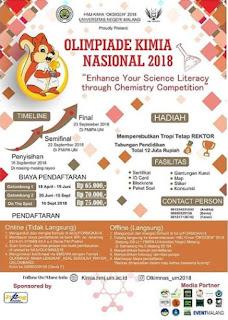 Olimpiade Kimia Nasional 2018 SMA Sederajat di Univ. Negeri Malang Deadline 15 September 2018