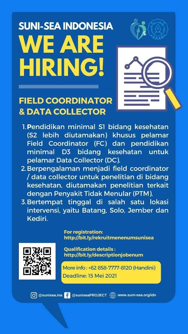 SUNI-SEA INDONESIA Wea are Hiring! Field Coordinator & Data Collector