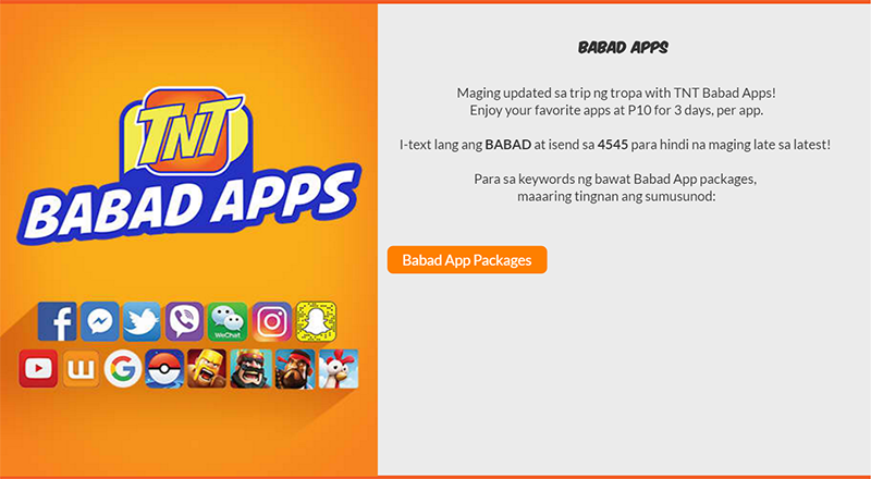Smart TNT Babad Apps Launched, Easy Access To Apps Priced 10 Pesos For 3 Days!