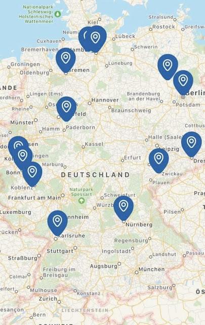 Landkarte Deutschland mit unseren Reisezielen
