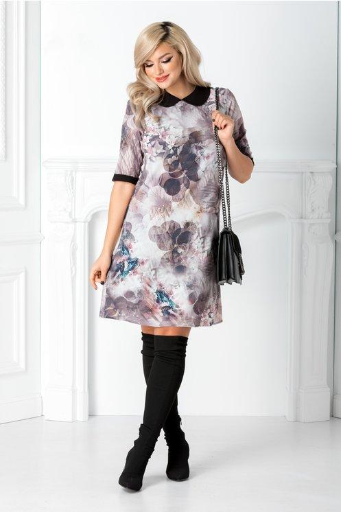 Rochie midi ieftina si frumoasa office gri rose cu imprimeu floral