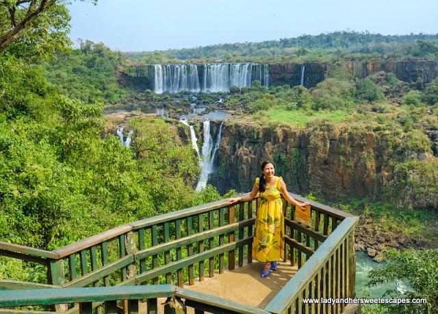 Lady in Iguazu Falls in Brazil