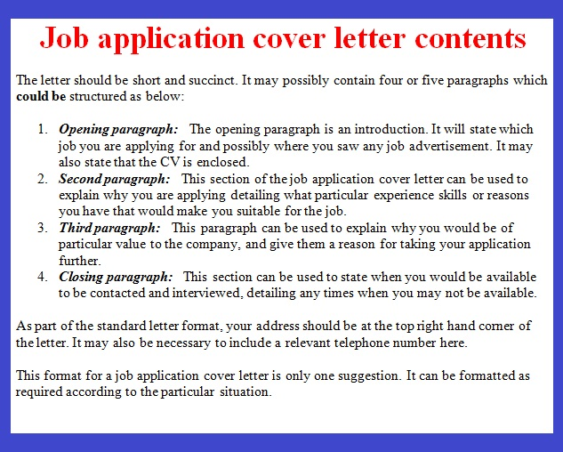 covering letter format for job application sample
