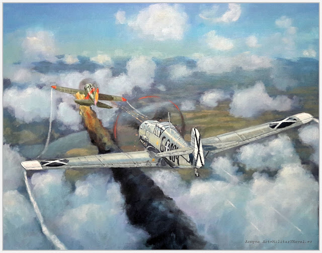 Combate de un Mosca contra un BF109