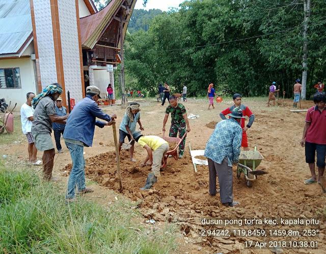Luar Biasa! Kodim 1414 Tana Toraja, Polsek dan Warga Rindingallo Bersinergi Ratakan Tanah Gereja