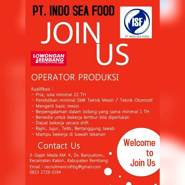 Lowongan Kerja Operator Produksi PT Indo Sea Food Rembang Tanpa Syarat Pendidikan