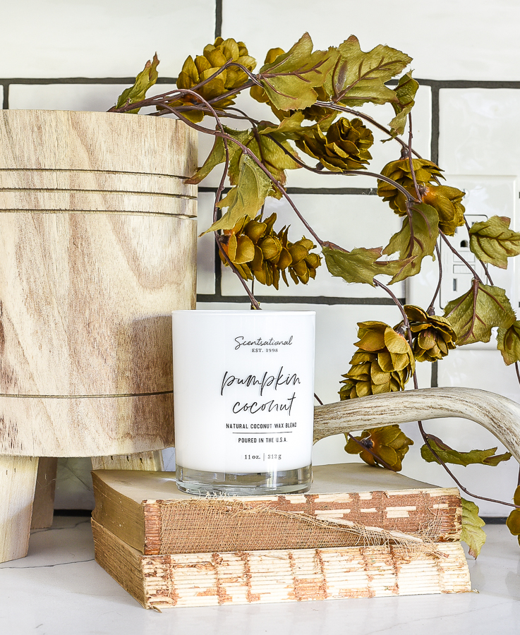 lite a fall scented candle