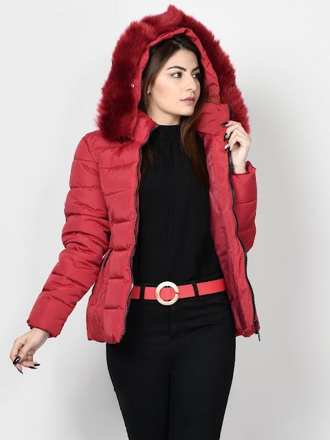 Limelight Winter wear women Red Faux Far jacket