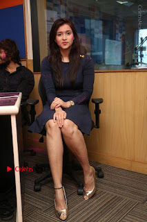 Actress Mannara Chopra Stills in Blue Short Dress at Rogue Song Launch at Radio City 91.1 FM  0053.jpg