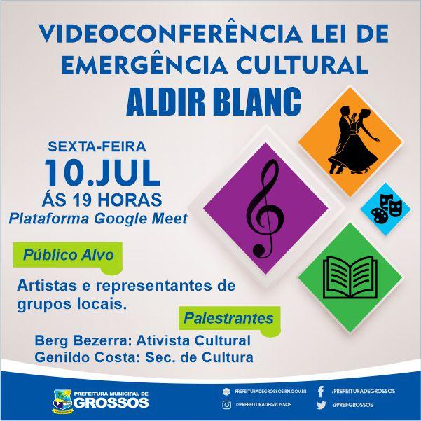 Secretaria de Cultura realiza videoconferência sobre a Lei Emergencial Cultural nesta sexta-feira, 10