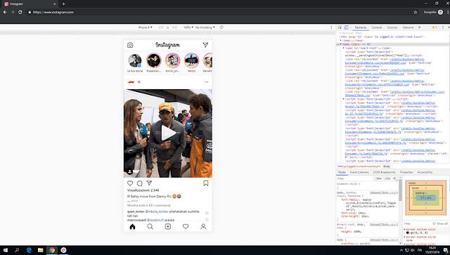 Versi mobile Instagram juga dapat diakses dari desktop