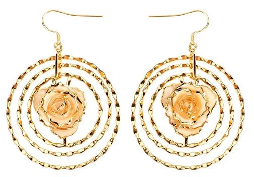 24k rose earrings