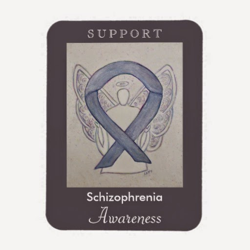 Support Schizophrenia Awareness Ribbon Silver Angel Custom Gifts Product Merchandise