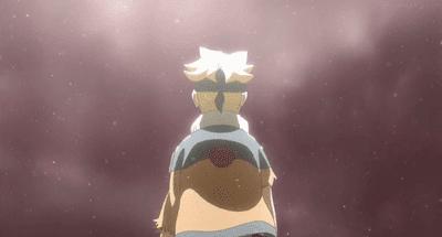 Boruto de espaldas, escena de la película Boruto: Naruto the movie