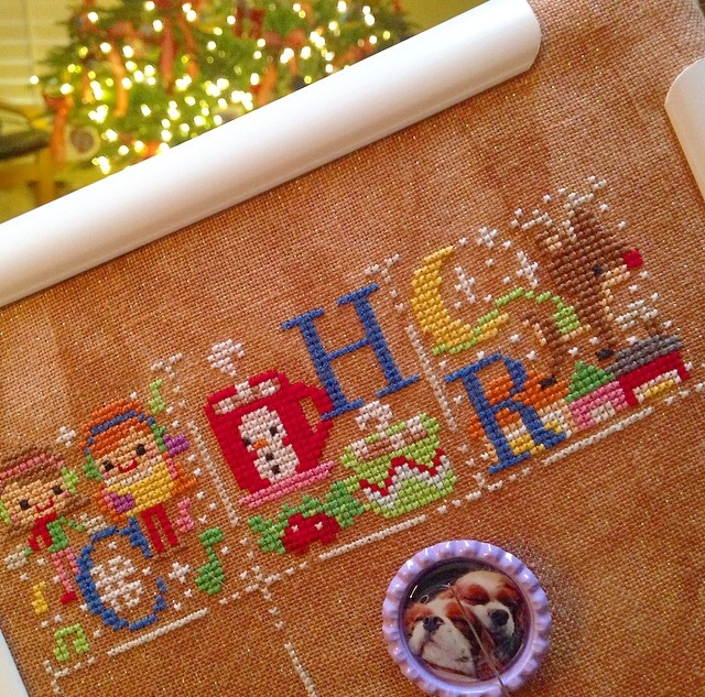Christmas cross stitch sampler by The Frosted Pumpkin Stitchery
