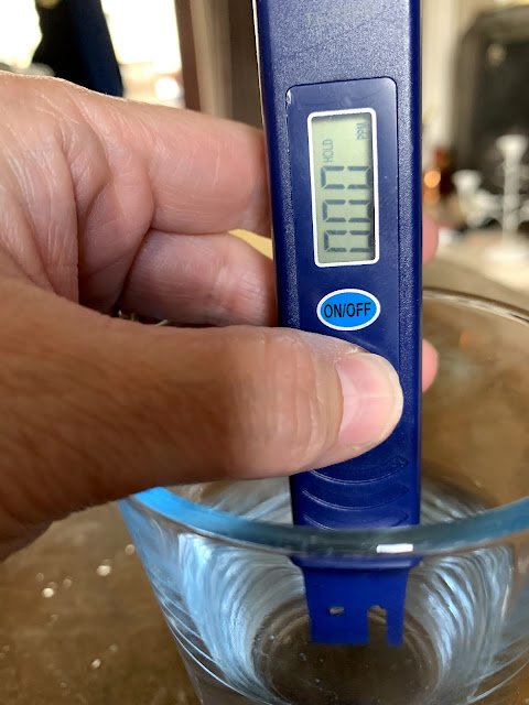 Total Dissolved Solids (TDS) digital meter showing TDS of filtered water