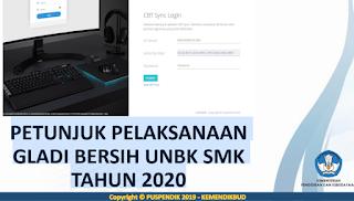 PETUNJUK PELAKSANAAN GLADI BERSIH UNBK SMK TAHUN 2020 serta Langkah - Langkah Sinkronisasi GLADI BERSIH UNBK SMK