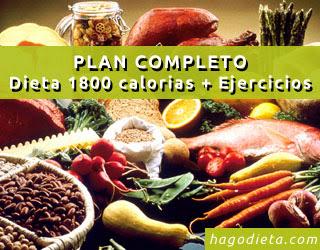 PLAN COMPLETO: Dieta 1800 calorías + Ejercicios