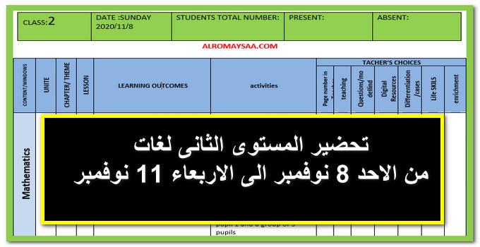تحضير المستوي الثاني لغات من الاحد 8 نوفمبر الى الاربعاء 11 نوفمبر