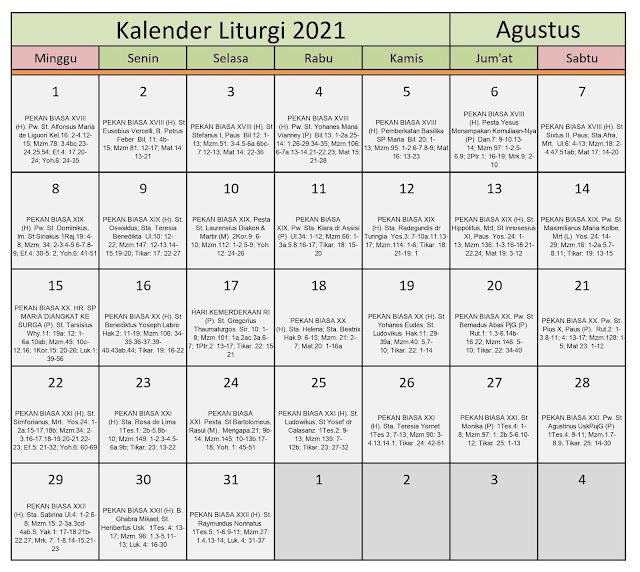 Download Kalender Liturgi Agustus 2021 Tahun B/1 PDF Excel dan JPEG