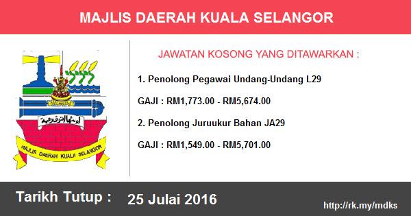Jawatan Kosong di Majlis Daerah Kuala Selangor