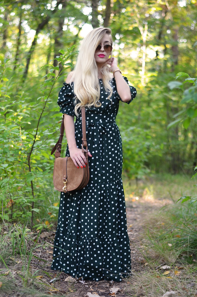 BOTTLE GREEN DRESS WITH DOTS