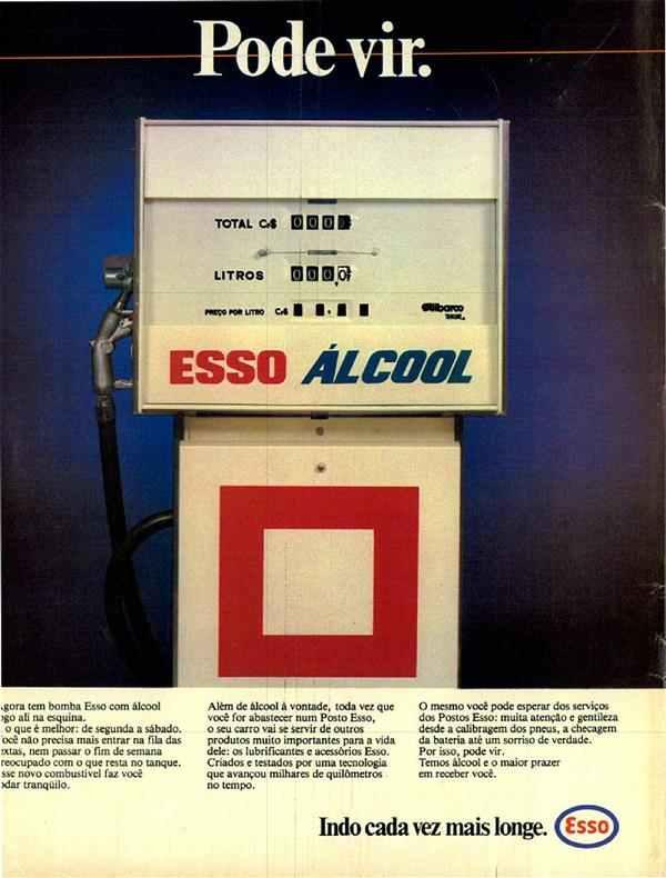 Propaganda antiga da Esso promovendo a chegada do Álcool em sua rede de postos em 1980